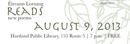 Éireann Lorsung reads | Hartland, VT | August 9, 2013